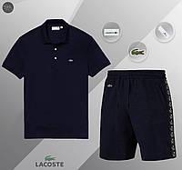 Футболка поло + Шорты Lacoste navy   комплект летний мужской ЛЮКС качества