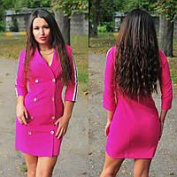 С1665 платье-пиджак с лампасами цвет фуксия/ ярко-розовый/ ярко-розового цвета