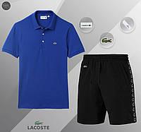 Футболка поло + Шорты Lacoste black-blue | комплект летний мужской ЛЮКС качества, фото 1