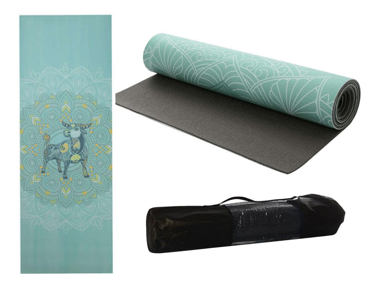 Коврик для йоги и фитнеса Zodiac 173х61см, 6мм + чехол в подарок!