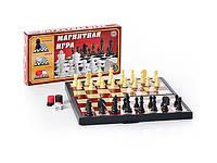 Шашки, шахматы, нарды набор 3 в 1, магнитная доска 25х25 см, настольная игра