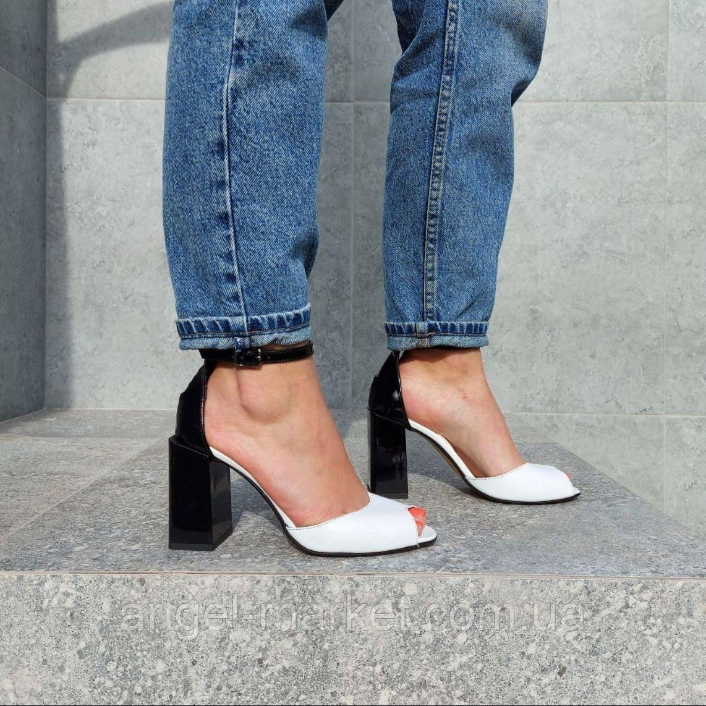 Летние кожаные туфли с открытым носком, на каблуке, 36-40 размеры