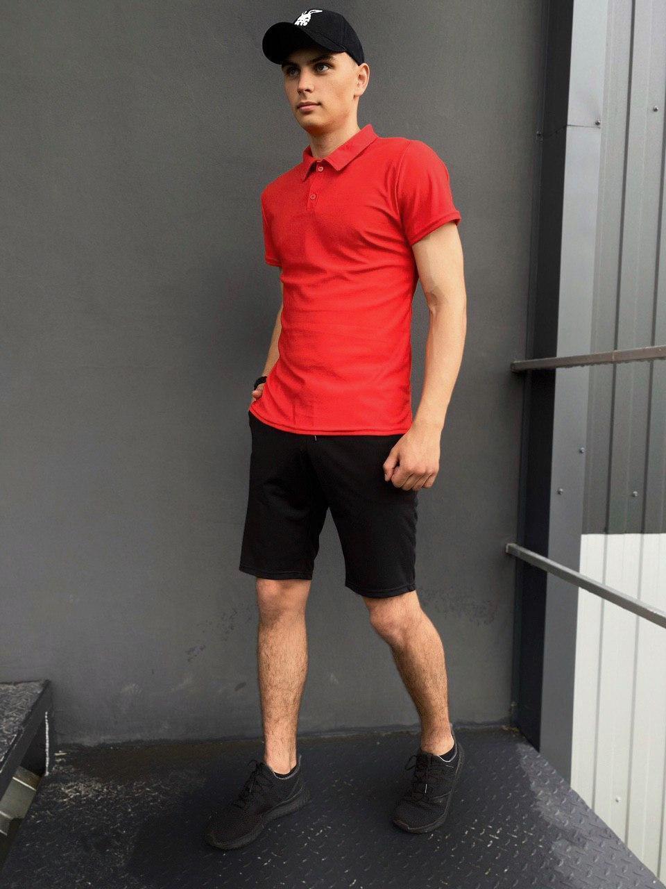 Костюм Intruder LaCosta летний красно - черный Мужская футболка поло+Мужские шорты трикотажные