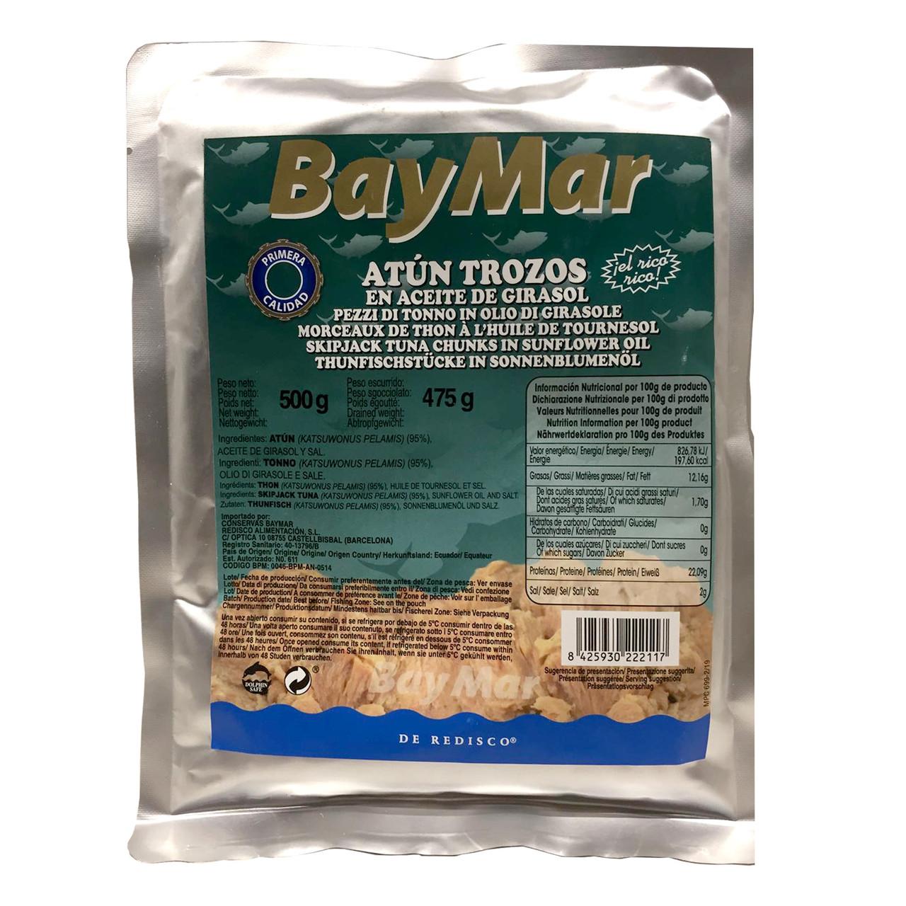 Тунець у власному соці BAY MAR Al Natural Atun trozos шматками, 500г (пакет), 20 шт/ящ 222121