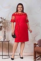 АА462 Праздничное платье с кружевом  красное/ красного цвета