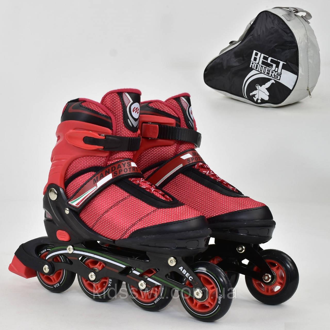 """Ролики Best Roller колір-червоний /розмір 39-42/ колеса PU, без світла, в сумці, d=7.6 см, 8903 """"L"""""""