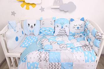 Комплект в  кроватку и игрушками в Голубых тонах