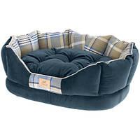 Лежак с двусторонней подушкой Charles 50 Bedding Blue для кошек и собак, 45x35x17 см