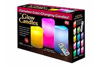 Набор декоративных свечей Glow Candles  3 шт Разноцветный 0021, КОД: 1636318