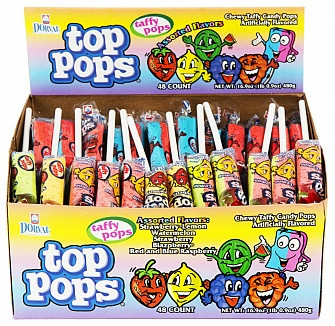 Top Pops Assorted Flavour Taffy Pops