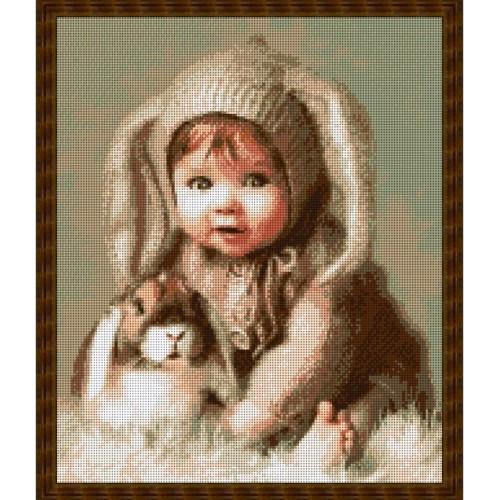 Вышивка бисером, Канва схемы Дети Малыш и кролик