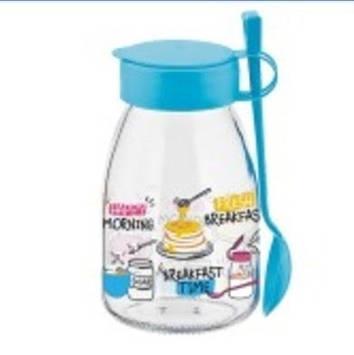 """Банка скло """"Renga"""" Maya Blue 0,5л  для йогурту з ложкою і кришкою №2892/131094 B(15)"""