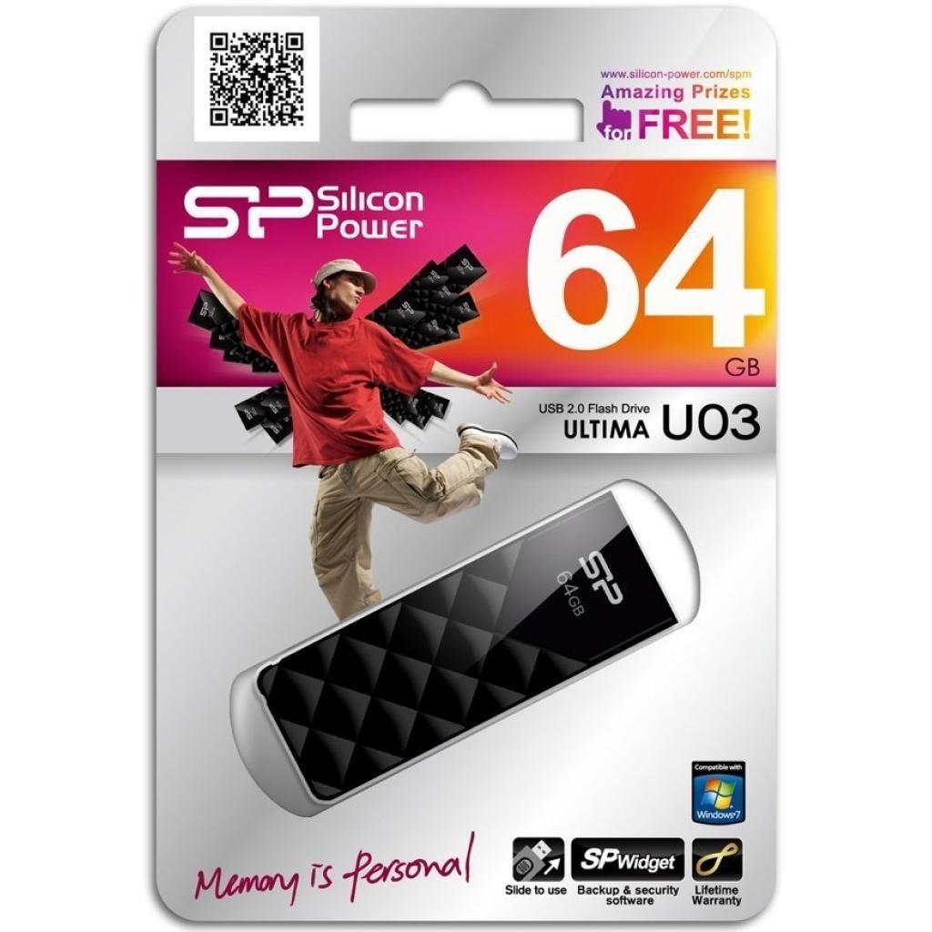 """Флеш-пам`ять 64GB """"Silicon Power Ultima"""" U03 USB2.0 black №7886"""