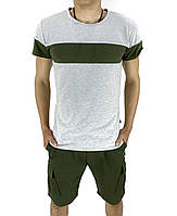 Комплект Футболка Intruder Color Stripe шорты Miami М Хаки с серым Kom 15893762  2, КОД: 1721499