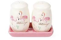 """Набір для спецій керам. (2предм.) """"Розовий фламінго"""" (сіль,перець) №DM023-FL/Bonadi/"""