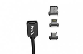 Кабель з'єднання (USB 2,0+Type-C) Havit HV-H637 magnetic cable black
