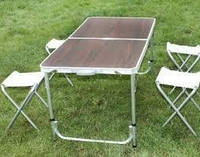 Стол складной туристический для пикника 4 стула 120*60*70 Folding Table алюминиевый, Коричневый