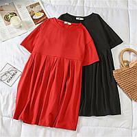 Летнее женское платье с коротким рукавом свободного кроя 40 42 44 46 48 50 52 54 56 58 60 размеры 50