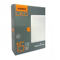 Квадратный безрамочный LED светильник VIDEX 15W