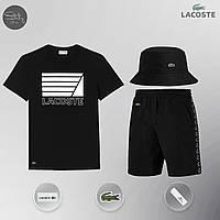 Летний комплект Lacoste lines black Шорты + Футболка / мужской трикотажный костюм ЛЮКС качества, фото 1