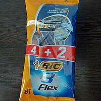 Набір Верстатів для гоління чоловічих одноразових BiC Flex 3 4+2 шт. (Бик Флекс 3 Пр-во Європа оригінал)