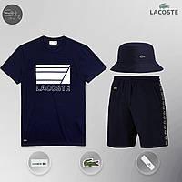 Летний комплект Lacoste lines navy Шорты + Футболка / мужской трикотажный костюм ЛЮКС качества, фото 1