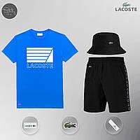 Летний комплект Lacoste lines blue Шорты + Футболка / мужской трикотажный костюм ЛЮКС качества, фото 1