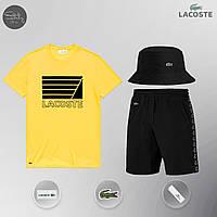 Летний комплект Lacoste lines yellow Шорты + Футболка / мужской трикотажный костюм ЛЮКС качества, фото 1