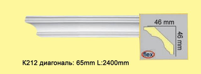 Укзий плинтус из полиуретана К212, 46*46мм