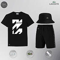 Летний комплект Lacoste zipp black Шорты + Футболка / мужской трикотажный костюм ЛЮКС качества, фото 1