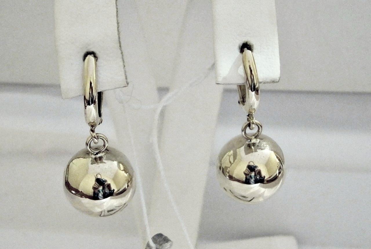 Серебреные серьги шары 925 пробы