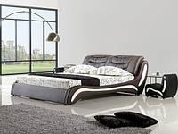 Кожаная двуспальная кровать Sonata Mobel B207 Венге-молочная, КОД: 1564102