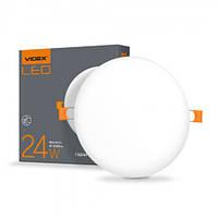 Круглый безрамочный LED светильник VIDEX 24W