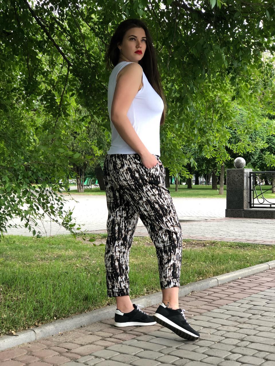 Летние брюки больших размеров для женщин легкие из штапеля