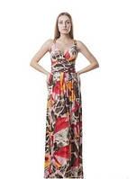 Платье красивое женское летнее с открытой спинкой длинное в пол яркой расцветки