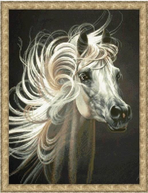 Вышивка бисером, Канва схема животные Красивая лошадка