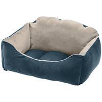 Бархатная кровать Milord 45 Bedding Blue-Beige для собак и кошек, 45x40x24 см