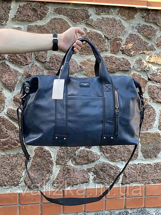 Якісна чоловіча дорожня сумка з екошкіри David Jones ручна поклажа синя, фото 2