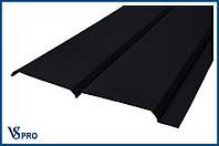 Сайдинг фасадный металлический Евро-Брус, RAL 9005 Цвет Черный Янтарь (матовый).