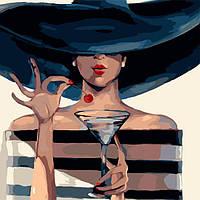 """Акриловая картина по номерам на холсте девушка в шляпе """"Гламур"""" 40х40, 2 уровень сложности"""