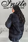 Норковый Полушубок Графит Стойка 75/120 0541ЕИШ, фото 9