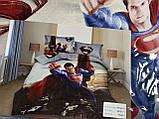 Комплект постельного белья детский Супермен полуторный размер Байка ( Фланель), фото 2