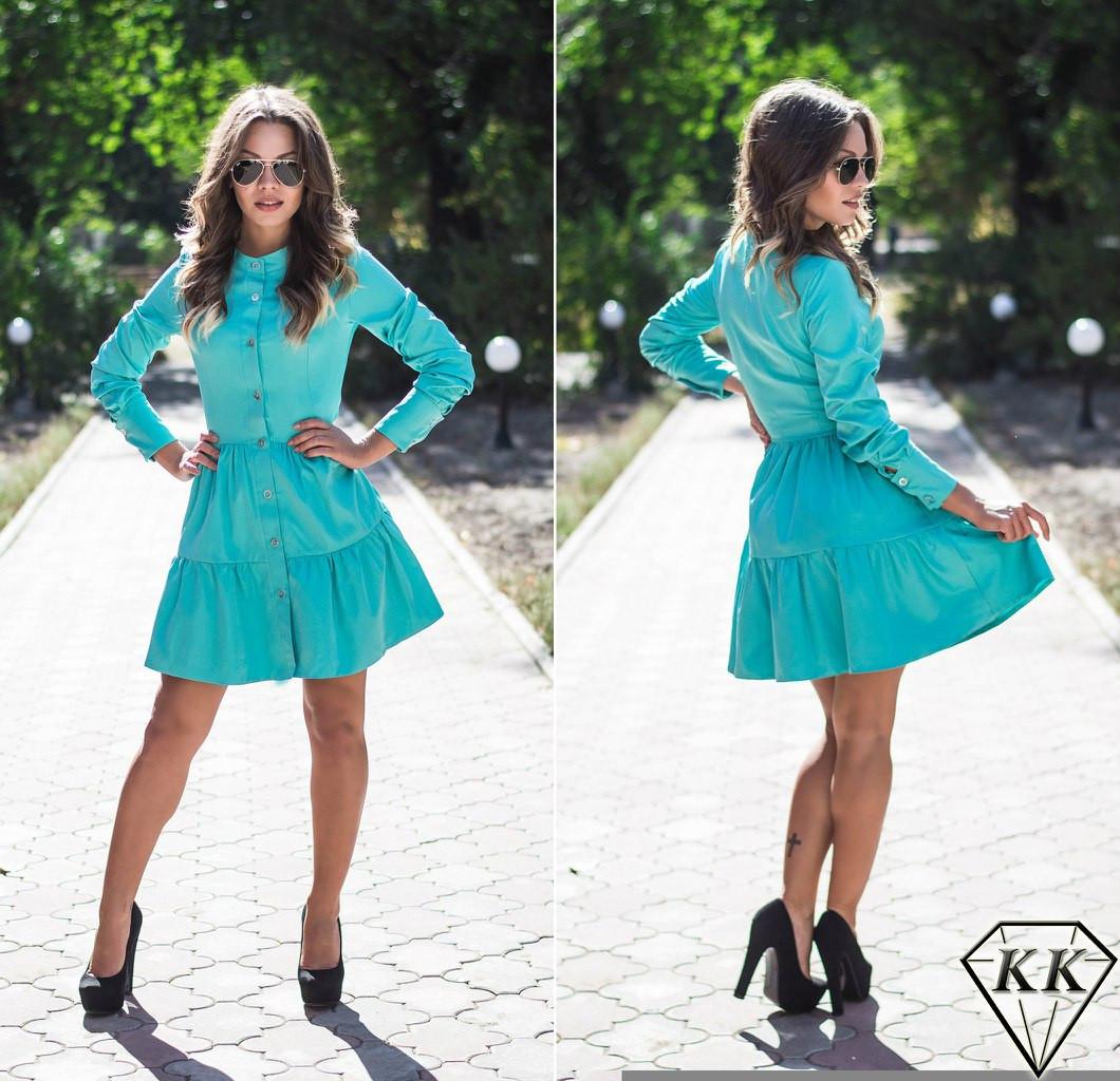 Бирюзовое платье с пуговицами