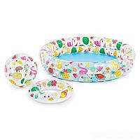 Детский надувной бассейн Intex 59460 «Фрукты», 122 х 25 см, с мячиком и кругом
