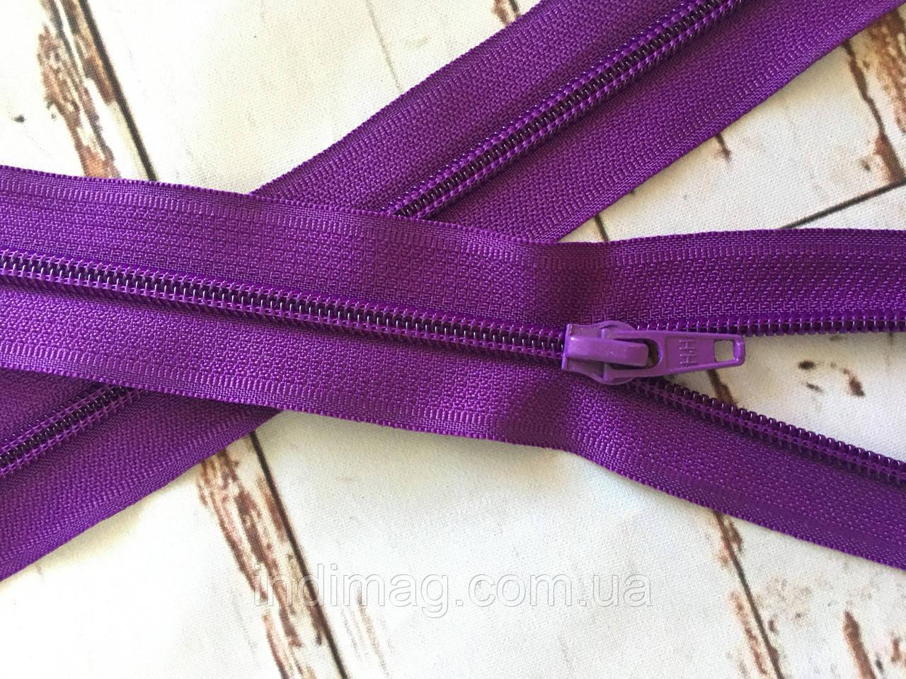 Молния змейка Пластик  фиолетовый  размер 75 см
