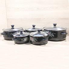 Набор Эмалированных кастрюль 5 шт. Swiss Family SF-673EDG Чёрный + ПОДАРОК: Настенный Фонарик с регулятором, фото 3