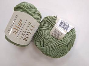 Пряжа для вязания Alize Мерино Роял (Merino Royal) зеленый 485