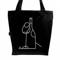 """Эко сумка из саржи """"Вино"""" (черная)"""