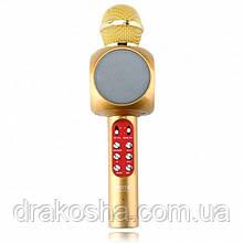 Беспроводной микрофон караоке блютуз WSTER 1816 Bluetooth динамик USB Светло коричневый