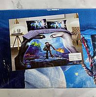 Комплект постельного белья детский  Как приручить дракона полуторный размер Байка ( Фланель)